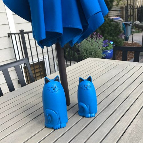 Cat Statues Pair for Garden, Various Color Cat Figures   Two Cats One Price   Exterior Home Decor   Gift for Cat Lover photo review