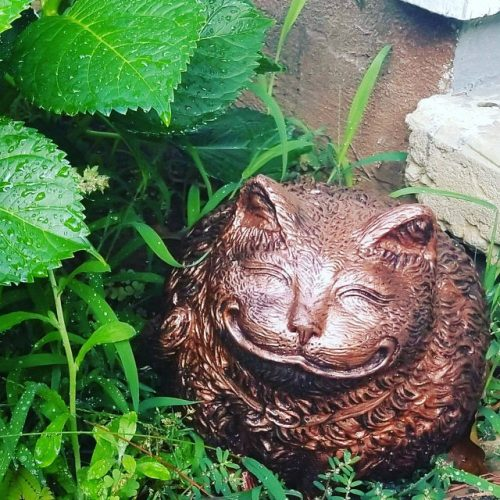 Bronze Fat Cat Cast-Stone Garden Statue | Other Colors Available photo review